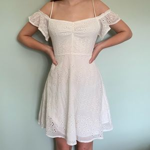White Lace Off-The-Shoulder Dress